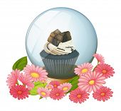 Illustration of a chocolate cupcake inside the crystal ball on a white background