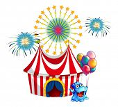 Illustration of a circus tent with a monster in the front on a white background