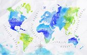 stock photo of continent  - Watercolor world map in vector format in green and blue colors on a background of crumpled paper - JPG