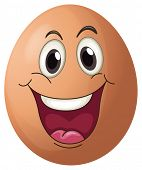 Illustration of a smiling egg on a white background