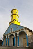 Famous Timber Church Of Chonchi On Chiloe Island, Chile