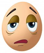 Illustration of a sad egg on a white background