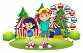 Illustration of the kids in front of the carnival on a white background