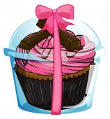 Illustration of a cupcake with a pink icing on a white background