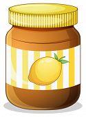 Illustration of a bottle of lemon jam on a white background