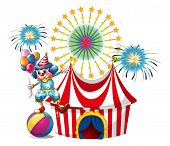 Illustration of a carnival with a clown holding balloons on a white background