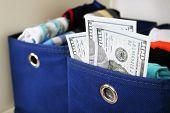 Hidden money in drawer close up