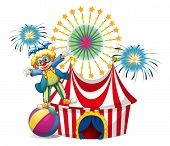 Illustration of a male clown playing outside the tent on a white background