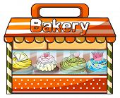Illustration of a bakery selling baked goods on a white background