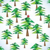Green Christmas Fir Trees Seamless Background.