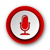 microphone red modern web icon on white background