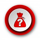 riddle red modern web icon on white background