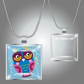 Silver Pendant With Square Clear Glass Cabochon For Your Picture