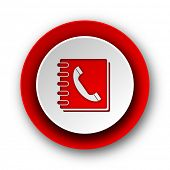 phonebook red modern web icon on white background