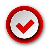 accept red modern web icon on white background