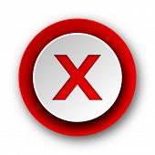 cancel red modern web icon on white background