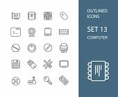 Outline icons thin flat design, modern line stroke style