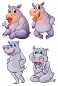 Illustration of the four hippopotamus on a white background
