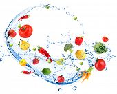 stock photo of water cabbage  - Fresh vegetables with water splash - JPG