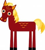 Brown Horse With Yellow Mane On A White Background. Vector