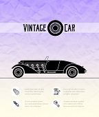 Retro cabriolet sport car, vintage outline style