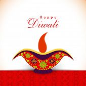 Deepawali celebration with illuminated oil lit lamop and stylish text of Happy Diwali.