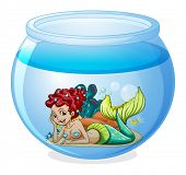 Illustration of an aquarium with a mermaid on a white background