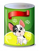 Illustration of a can with a puppy on a white background