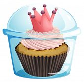 Illustration of a cupcake with a crown inside the disposable container on a white background
