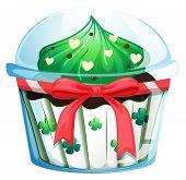 Illustration of a disposable cupcake container with a red ribbon on a white background