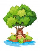 Illustration of a mermaid resting in the island on a white background