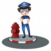 Illustration of a police officer beside the hydrant on a white background