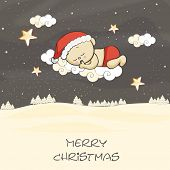 Cute little baby in santa claus hat dreaming for christmas night, beautiful greeting card design for Merry Christmas celebrations.