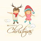 Cute little kids holding hands and enjoying their holidays, Beautiful greeting card for Merry Christmas celebrations.