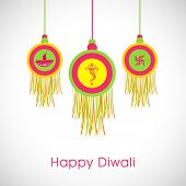 Deepawali celebration with stylish hanging and text of Happy Diwali on shiny white and light grey.