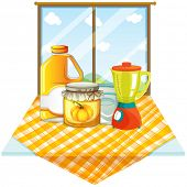 Illustration of a table with a blender and containers on a white background