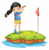 image of ladies golf  - Illustration of a young lady golfing on a white background - JPG