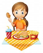 Illustration of a pretty girl eating at the fastfood restaurant on a white background