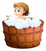 Illustration of a young girl taking a bath on a white background