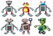 Illustration of the six robots on a white background