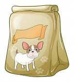 Illustration of a pack of dogfood with an empty label on a white background