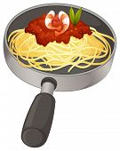 Illustration of a spaghetti in a pan on a white background