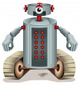 Illustration of a robot with red buttons on a white background