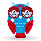 Funny Owl On White Background. Vector