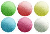 Illustration of the six colourful balls on a white background