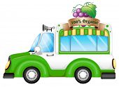 Illustration of a green vehicle selling organic fruits on a white background