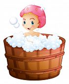 Illustration of a smiling girl taking a bath on a white background