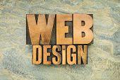 web design - internet concept - words in letterpress wood type against slate rock background