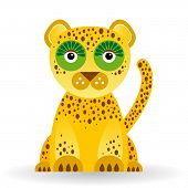 Funny Jaguar On White Background. Vector
