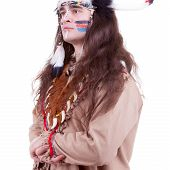 Native America Men Isolated On White Background